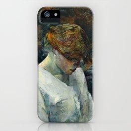 """Henri de Toulouse-Lautrec """"La Rousse in a White Blouse"""" iPhone Case"""