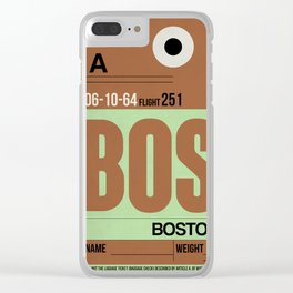 BOS Boston Luggage Tag 1 Clear iPhone Case