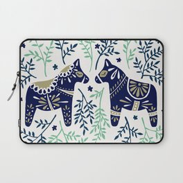 Swedish Dala Horse – Navy & Mint Palette Laptop Sleeve
