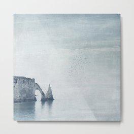 View of Chalk Cliffs Etretat - Normandy - France Metal Print