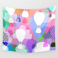 hot air balloons Wall Tapestries featuring Hot air balloons by Ingrid Castile