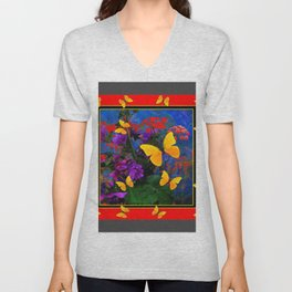 RED-GREY YELLOW BUTTERFLIES FLORAL GARDEN ABSTRACT Unisex V-Neck