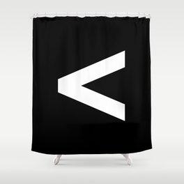 Less-Than Sign (White & Black) Shower Curtain
