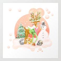 Reindeer Before Christmas Art Print