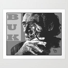 Charles Bukowski -Popart - bw Art Print