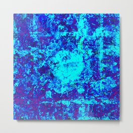 AQUA - Abstract blue water painting Metal Print