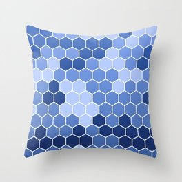 Honeycomb Blue Pattern | Geometric Shapes | Home Decor | Sapphire | For Him | For Her Throw Pillow