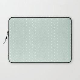 Vintage blush green white elegant chic polka dots pattern Laptop Sleeve