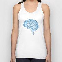 psychology Tank Tops featuring blue human brain by Illustree