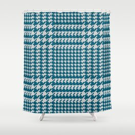 Classic knit houndstooth plaid in blue Shower Curtain