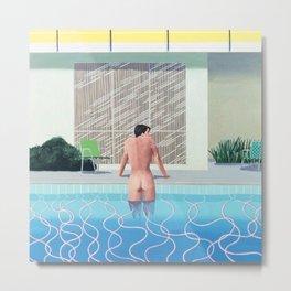 Man And Pool Metal Print
