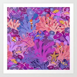 Block Party on the Reef - Clownfish Anemone Marine Sea Life Coral Art Print