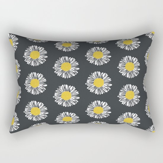 Daisy pattern basic flowers floral blossom botanical print charlotte winter dark color Rectangular Pillow