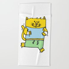 Meow is running Beach Towel
