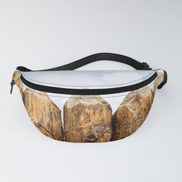 Sharpened Ends Of Rough Wooden Poles Of A Medieval Palisade Fanny Pack