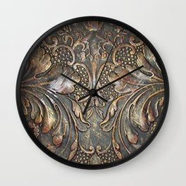 Golden Brown Carved Tooled Leather Wall Clock