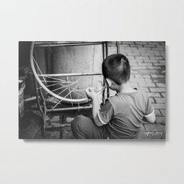 Kid playing in the street Metal Print
