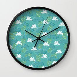 Rain Birds - Teal Wall Clock