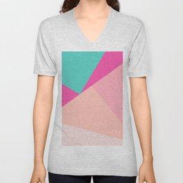 Pastel pink turquoise modern geometric color block pattern Unisex V-Neck