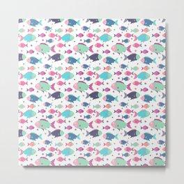 Modern neon pink teal polka dots cute nautical fish illustration Metal Print