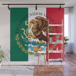 Flag of Mexico with Coat of Arms (augmented scale) Wall Mural
