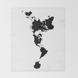 Dymaxion World Map (Fuller Projection Map) - Minimalist Black on White Throw Blanket