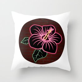 Neon Red Hibiscus Flower Throw Pillow