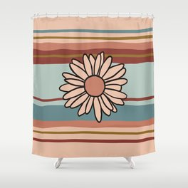 90s Stripe with Daisy in Vintage Fall Colors Shower Curtain