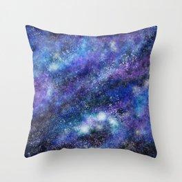 Blue Space Galaxy Throw Pillow
