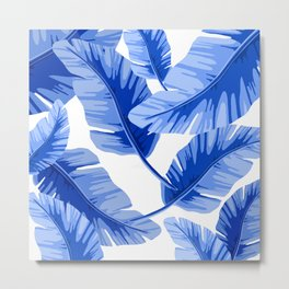 Blue Tropical Leaves Print Metal Print