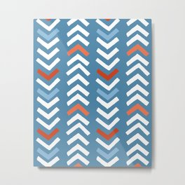 Abstract Chevron - Night Blue and Red Metal Print