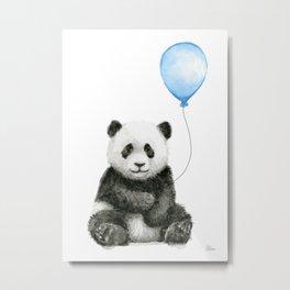 Panda Baby Animal with Blue Balloon Metal Print