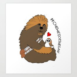 Stylized Chewie Goes Vegan Art Print