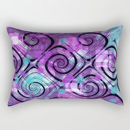 Purple Plaid Twisted Mess Rectangular Pillow