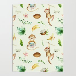 Tropical hand painted floral monkeys coconut pattern Poster