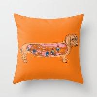 Throw Pillows featuring Secrets of the Dachshund  by Rachel Caldwell