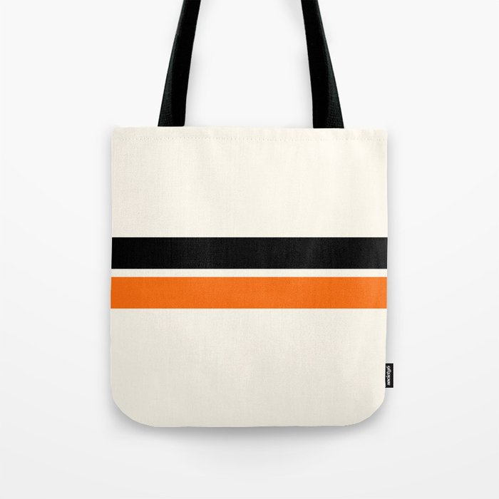 2 Stripes Black Orange Tote Bag
