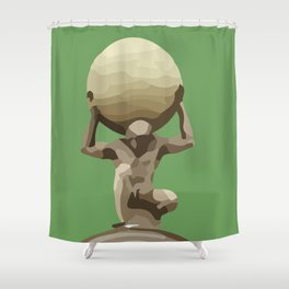 Man with Big Ball Illustration green Shower Curtain