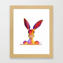 Happy Hare Rabbit ' JUST TO SAY HELLO ' by Shirley MacArthur Framed Art Print