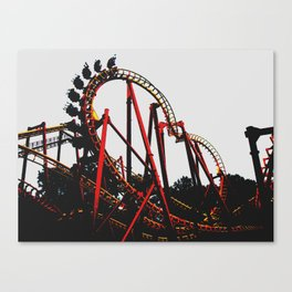 Roller Yellow Coaster Red Canvas Print