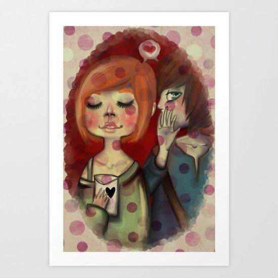 Teenagers in love Art Print