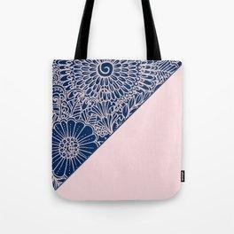 Blush pink navy blue hand drawn modern floral Tote Bag