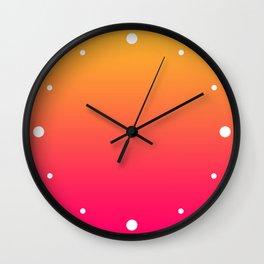 Hot Pink / Golden Heart Gradient Colors Wall Clock