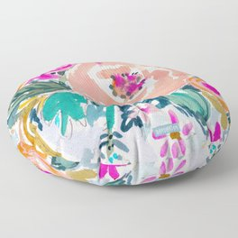 PEACH SPIN FLORAL Floor Pillow