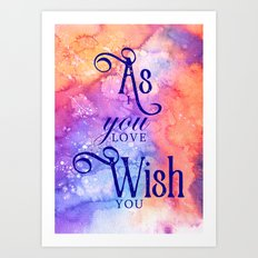 As you wish (inspired by The Princess Bride) Art Print