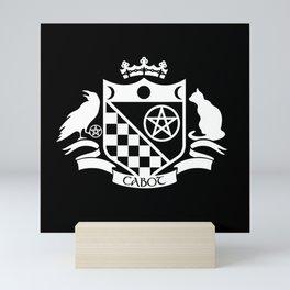 Cabot Crest (White on Black) Mini Art Print