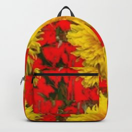 YELLOW DANDELION BLOSSOMS ON RED ORGANIC ART Backpack