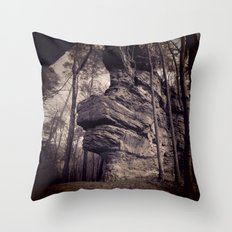 Rock in a mystical forest Throw Pillow