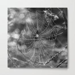 Spiderweb in Black and White Bokeh Nature Background #decor #society6 #buyart Metal Print