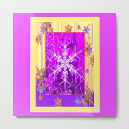 Fuchsia Purple Cream color Snowflake Fantasy Art Metal Print